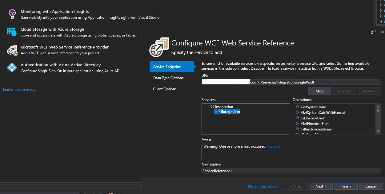 .net core wcf servisi ekleme